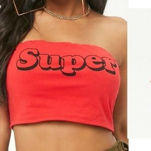 "FOREVER 21 Cotton Blend Red ""Super"" Tube Top"